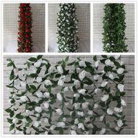 Artificial Rose Guirnalda Seda Flor Vid Ivy Inicio Boda Jardín Decoración rojo blanco hojas verdes 180 cm