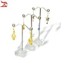 3 teile / satz Klar Schwarz Acryl Schmuckständer Ohrring Haken Halter Metall Rack Rahmen (3 stücke Höhe: 13,5 cm / 11,5 cm / 9,5 cm) Freies Verschiffen