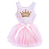Großhandel - 0-24M Kleinkind Säuglingsstreifen Imperial Krone Drucken Nette Neugeborene Kleider für 1 Jahr Baby Taufe Geburtstagsgeschenk mit Bandbogen