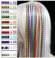 Colorful 10000pcs/lot Length 16inch 40cm mix colors Synthetic Available Grizzly Loop Feather Hair Extensions Hairpiece