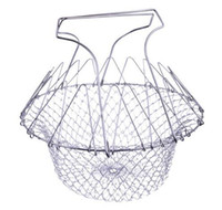 Hermético plegable de la colada del enjuague de Steam Fry Chef Basket Colador Net Kitchen Cooking Tool