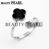 3 Pieces Pearl Ring Settings Black Cloverleaf Ring Base 925 ...