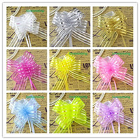 13 colors pick- - 50pcs lot 5cm Large Size Organza Pull Bows W...