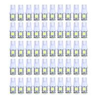 100 Unids Super Bright White T10 Wedge 5-SMD 5050 LED Side Tail Plate Placa de la bóveda de estacionamiento Bombillas W5W 2825 158 Cold Xenon White 6500K