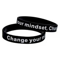 Bracelet en silicone Slogan de 100pcs dit changer votre esprit et vie noire taille adulte taille encre logo remplie