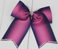 "15 colors 6"" jojo ombre Rainbow rhinestone Cheer Bow Wi..."