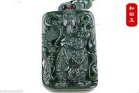 100% natürliche Nephrit Hetian Jade Wealth Gott Guangong Jade Anhänger Halskette