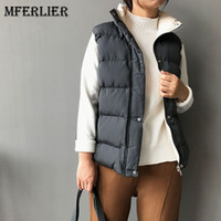 Mori Girl Winter Solid Vest Pannelled Stand Collar Drawstrin...
