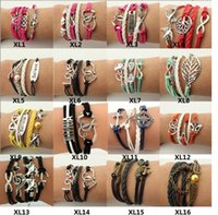 Infinity Charm Bracelets Hot Sale Leather Owl Anchor Love Br...