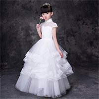 New Flower Girl Robes avec Perles Cap Manches Communion Party Pageant Dress pour Little Girls Enfants / Enfants Dress for Wedding