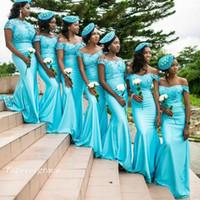 Cap estilo país mangas dama de honra vestido de renda corpete Turquoise Sul Maid Africano de honra vestido de Convidados do casamento Vestido Custom Made Plus Size