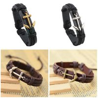 Hot sale New leather alloy anchor sports bracelet leather he...