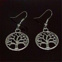 Orecchini pendenti in argento antico con albero della vita Orecchini in argento 925 placcati in argento a forma di pesce con gancio a forma di orecchini con pendente a forma di orecchini regalo di Natale