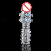 최신 성인 투명 큰 머리 크리스탈 남근 반지 반지 딜도 스파이크 수탉 슬리브 extender 지연 특별 남성 섹스 제품
