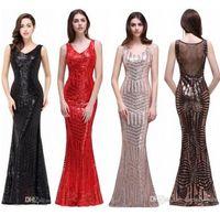 Bling lentejuelas vintage rojo negro sirena vestidos de noche con cuello en V sin espalda barrido tren Celebrity noche vestidos de baile fotos reales CPS371