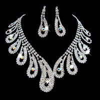 Moda Rhinestones Sistemas de la joyería nupcial cristales de plata de la boda collares y pendientes para la novia de fiesta de noche accesorios