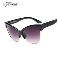 Wholesale-BOUTIQUE Women Essential Metal Semi-Rimless Cat Eye Sunglasses Vintage Brand Designer glasses