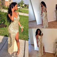 Sparkle Sequins Silver Gold Sexy Prom Vestidos V Neck 2016 High Slit Mermaid Criss Cross Back Plus Size Cheap Graduate Gowns Evening Wear