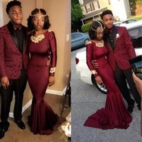 2018 Hot Sell Burgundy Mermaid Prom Dresses Black Couple Fas...