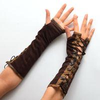 1 par Mujeres Steampunk Lolita Armbands HAND CUFF Vintage Victorian Tie-Up Marrón Mitones Guantes Accesorios de Cosplay Nuevo