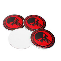 Haute Qualité 56.5mm En Alliage D'aluminium autocollant emblème badge Red Punisher Symbole Long Dent Barbe Crâne Tête pour Car Wheel center cover