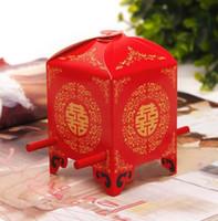 Livraison gratuite rouge berline nuptiale chaise boîtes de faveur de mariage coffret cadeau boîte de bonbons de mariage chinois boîte d'emballage