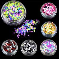 6 бутылок / набор пластиковых ногтей блеск порошок цвет смешанные ногтей блеск блестки женщины салон красоты маникюрные инструменты