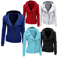 Atacado-2016 New mulheres capuz cor sólida com capuz Jacket manga comprida Mulheres do Hoodie Zipper Inverno mulheres Brasão