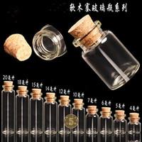 En gros 14 * 20mm 1 ml Mini Flacons En Verre Avec Cork Vide Minuscule Bouteilles En Verre Transparent Bocaux 100pcs / lot