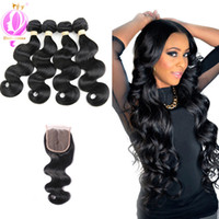 Body Wave Closure with 4 Bundles Brazilian Virgin Hair Weave...