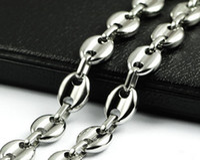 Mode für männer Weihnachtsgeschenke Reine Edelstahl Halskette kaffeebohne design Kettenglied Hochglanzpoliert gold ton für schmuck 10mm 18 -32 ''