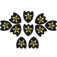 10 ADET siyah nakış rozeti altın giyim için yama demir yama giysi aplike dikiş aksesuarları çıkartmaları için bez demir on patch