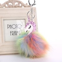 Brand new Colorful hair ball unicorn key chain PU corners of...