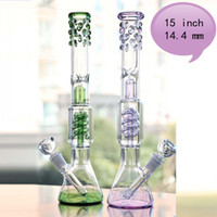 Purple And Green 15' ' Tall Glass Bongs Jpint 14. 4m...