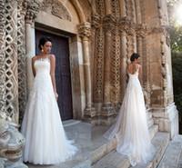 2021 Milla Nova Винтажные свадебные платья для лодки шеи без рукавов линии кружевной аппликации поезда поезда свадебное платье на заказ