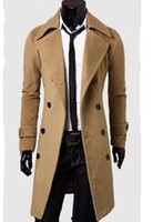 New men autumn winter fashion of cultivate one's morality personality double-breasted pure color woolen cloth trench coat  M-3XL