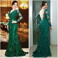 Vestido de noche de encaje de las mujeres cuello en V bajo espalda mangas largas de color verde esmeralda sirena vestido de fiesta Vestidos De Formatura