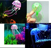 Glowing Artificial Vivid Jellyfish Silicone Fish Tank Decor ...