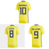 aea98ea89 Thai 2018 World Cup Sweden soccer jerseys IBRAHIMOVIC football shirt  KALLSTROM jersey camisas de futebol