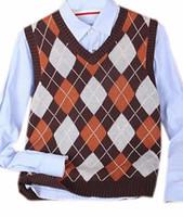 Al por mayor- Genérico Mens Moda cuadros Slim V cuello suéter sin mangas Chalecos