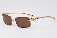 Occhiali vintage ünlü marka tasarımcısı yarı çerçevesiz Düz Üst buffalo boynuz gözlük erkek kadın metal bacaklar güneş gözlüğü altın nokta metal çerçeve