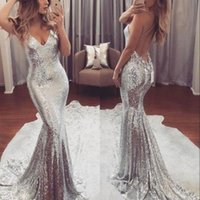 Newest V- Neck Mermaid Silver Long Evening Dresses Sequin Lac...