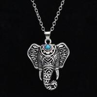 Boêmio Étnica pedra azul Elefante Pingente de Colar mulheres Vintage declaração colar de Jóias para As Mulheres Frete grátis