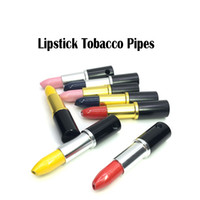Lipsticks Metal Tobacco Pipes 74mm Mixed Color Hide Metal Fa...