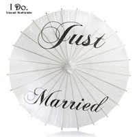 Just Married Painted Paper Parasol Umbrella for Wedding Phot...