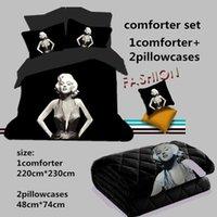 Polyester Cotton Printed Home 3d Bedding Sets Marilyn Monroe Comforter Set 200 230cm Comforter Two Pillowcase Black 3d Monroe White 3d Bed Linens