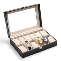 Lujo 12 Rejillas de Cuero Negro Caja de Reloj Caja de Exhibición de Exhibición de la Joyería Caja de Almacenamiento Organizador Reloj Con Cubierta de Vidrio Transparente