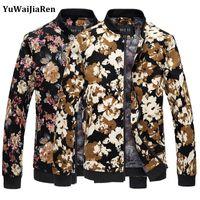 Großhandels-YuWaiJiaRen Jacke Männer Casual Männer Mantel Stehkragen Männer Jacke Mode Jaqueta Masculina Blumendruck Baseball-Mäntel