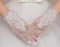 2017 hot verkoop nieuwe stijl witte kant net garen volledige vinger korte handschoenen bruidshandschoenen trouwjurk accessoires shuoshuo6588