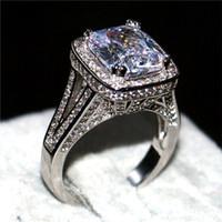 Bijoux de mode 14KT or blanc rempli anneaux de luxe Pave 192 PCS 5A CZ blanc Big 8CT carré diamant pierres précieuses Bague de mariage pour les femmes
